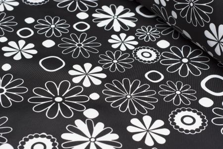 TKANINA MARKIZOWA BLACK/WHITE FLOWERS