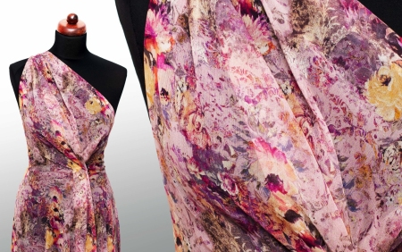 JEDWAB 100% NATUR - WINSOME ORCHID PRINT