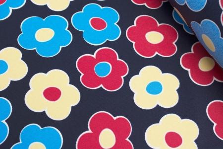 TKANINA MARKIZOWA LOVELY FLOWERS NAVY