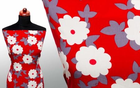TKANINA WISKOZOWA FLOWERS RED