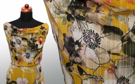 TKANINA SZYFON GOLD THREAD & HONEY FLOWERS
