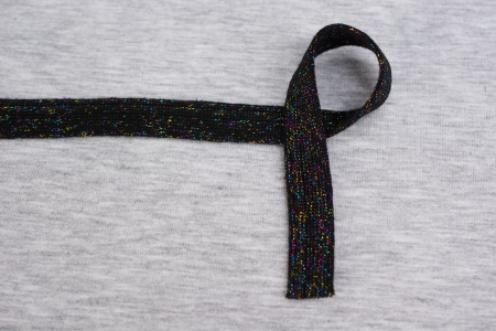 TAŚMA OZDOBNA BLACK  MULTICOLOR THREAD