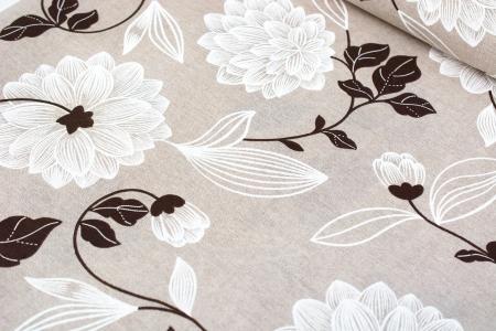 TKANINA DEKORACYJNA FLOWERS BRONZE/WHITE